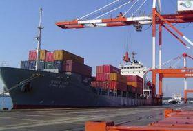 コンテナの積み降ろしが行われる船会社「南星海運」の貨物船=茨城港常陸那珂港区