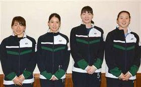 全英オープンで好成績を収めた(右から)永原、松本、米元、田中