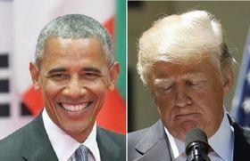 オバマ前大統領(共同)とトランプ大統領(ロイター=共同)