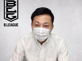 バスケットボール男子Bリーグの理事会を終え、オンラインで記者会見する島田慎二チェアマン=13日