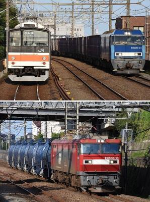 (上)武蔵野線の205系(左)とすれ違う貨物列車、(下)武蔵野線を走る貨物列車