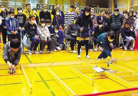 競技でロボットをセットする大会参加者=久喜市立太田小学校体育館