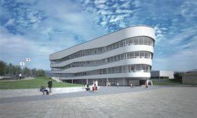 新庁舎の完成予想図(平川市提供)