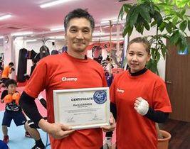 全日本選手権優勝、五輪出場を目指す美坂選手(右)と「国際スリースター審判員」の資格を取得した五十嵐代表。「同じ五輪の舞台に立てたら」と口をそろえた