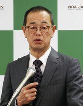 記者会見する原子力規制委員会の更田豊志委員長=9日午後、東京都港区