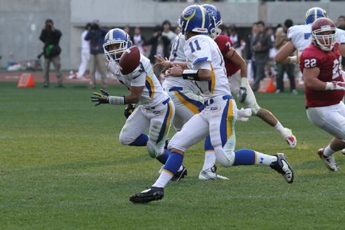 ランプレーでボールをピッチする関学大のQB斎藤=撮影:山岡丈士、11月24日、長居陸上競技場