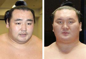 鶴竜関(左)と白鵬関