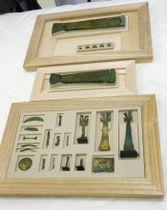 修復作業を終えた沖ノ島の国宝の出土品25点。上は「金銅製雛形五弦琴」