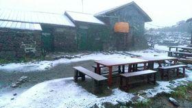 初雪が確認された北海道の大雪山系・黒岳の山頂付近=17日午前5時ごろ(りんゆう観光提供)