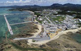 米軍普天間飛行場の移設工事が進む、沖縄県名護市辺野古の沿岸部=6月26日(小型無人機から)