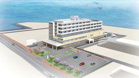 国道251号側から見た公立新小浜病院の完成予想図(雲仙・南島原保健組合提供)