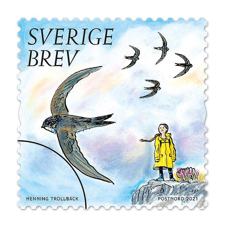 スウェーデンの郵政事業会社が発売した環境活動家グレタ・トゥンベリさんを描いた切手(ロイター=共同)