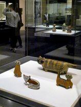 ネコなどの動物園シリーズで知られるリサ・ラーソンさんの傑作が並ぶ特別展会場(甲賀市信楽町・滋賀県立陶芸の森 陶芸館)