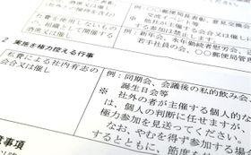 各郵便局に出された「綱紀粛正の徹底」と題した文書。誕生日会などへの参加を控えるよう指示している。
