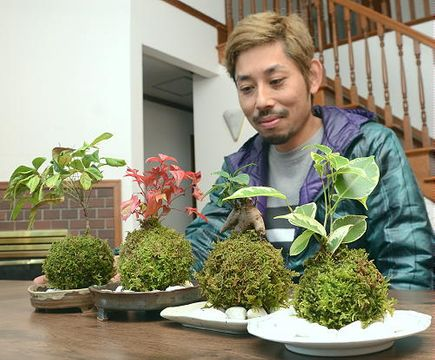 籾山信二さんが手掛け、通信販売で人気を集めているコケ玉