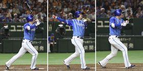 巨人戦で3本塁打と活躍したDeNAの筒香。(左から)1回の先制中越え2ラン、4回の右越えソロ、9回の右中間ソロ=東京ドーム