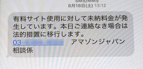 女性のスマートフォンに送られてきた、有料サイトの使用料支払いを求めるメール画面(画像を一部加工しています)