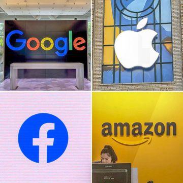 GAFAと呼ばれる米国のグーグル、アップル、フェイスブック、アマゾン・コム各社のロゴマーク