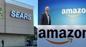 閉店セール中のシアーズの店舗=2018年10月、米ニューヨーク近郊(左)、2014年6月16日に米シアトルの発表会で舞台上を歩く米アマゾン・コムのジェフ・ベゾスCEO(AP=共同、右上)、2017年2月米アマゾンの配送センター(ロイター=共同、右下)