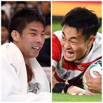 柔道・永瀬(左)とラグビー日本代表の福岡