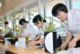 高校生が華道の腕前を競った「花の甲子園」(高知市追手筋2丁目)
