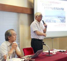 東京電力福島第1原発のトリチウム水の処分を巡り、記者会見する「原子力市民委員会」のメンバー=18日午後、東京都内