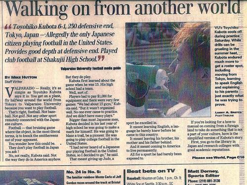 現地紙に取り上げられた窪田さん「Walking+on」は特待生ではない、一般入部選手を意味する