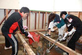 アパートの床下の泥をかき出す淑徳大の学生