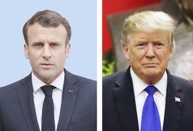 フランスのマクロン大統領、トランプ米大統領(AP=共同)