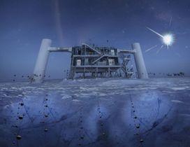 南極にあるアイスキューブの研究施設のイメージ。氷の中に球状の検出器が埋まっている(研究チーム提供)