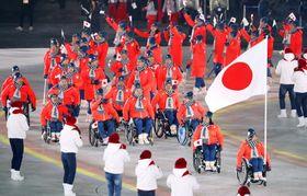 開会式で入場行進する日本選手団=9日、平昌(共同)