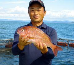 新たなブランド魚として開発された「オリーブマダイ」=香川県東かがわ市引田