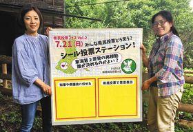 シール投票で使うボード。赤い枠の中にシールを貼り、意思を示してもらう=石岡市で