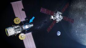 月周回基地(左)のイメージ。矢印が日本が技術協力を予定する居住棟、右の機体は地球と月を往還する宇宙船、右の大きな天体が月(NASA提供)