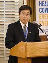 米ニューヨークでの会合であいさつする日本の石兼公博国連大使=12日(共同)