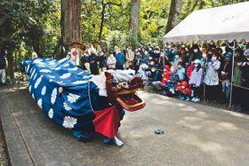 本殿前へ進むにらみ獅子=氣多神社