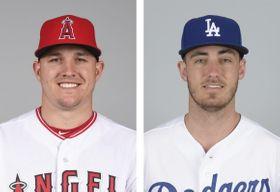 左からエンゼルスのトラウト外野手、ドジャースのベリンジャー外野手(いずれもゲッティ=共同)
