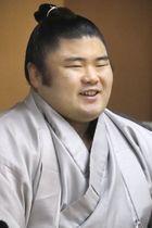オンラインで記者会見する新十両の貴健斗=27日、東京都台東区の常盤山部屋(日本相撲協会提供)