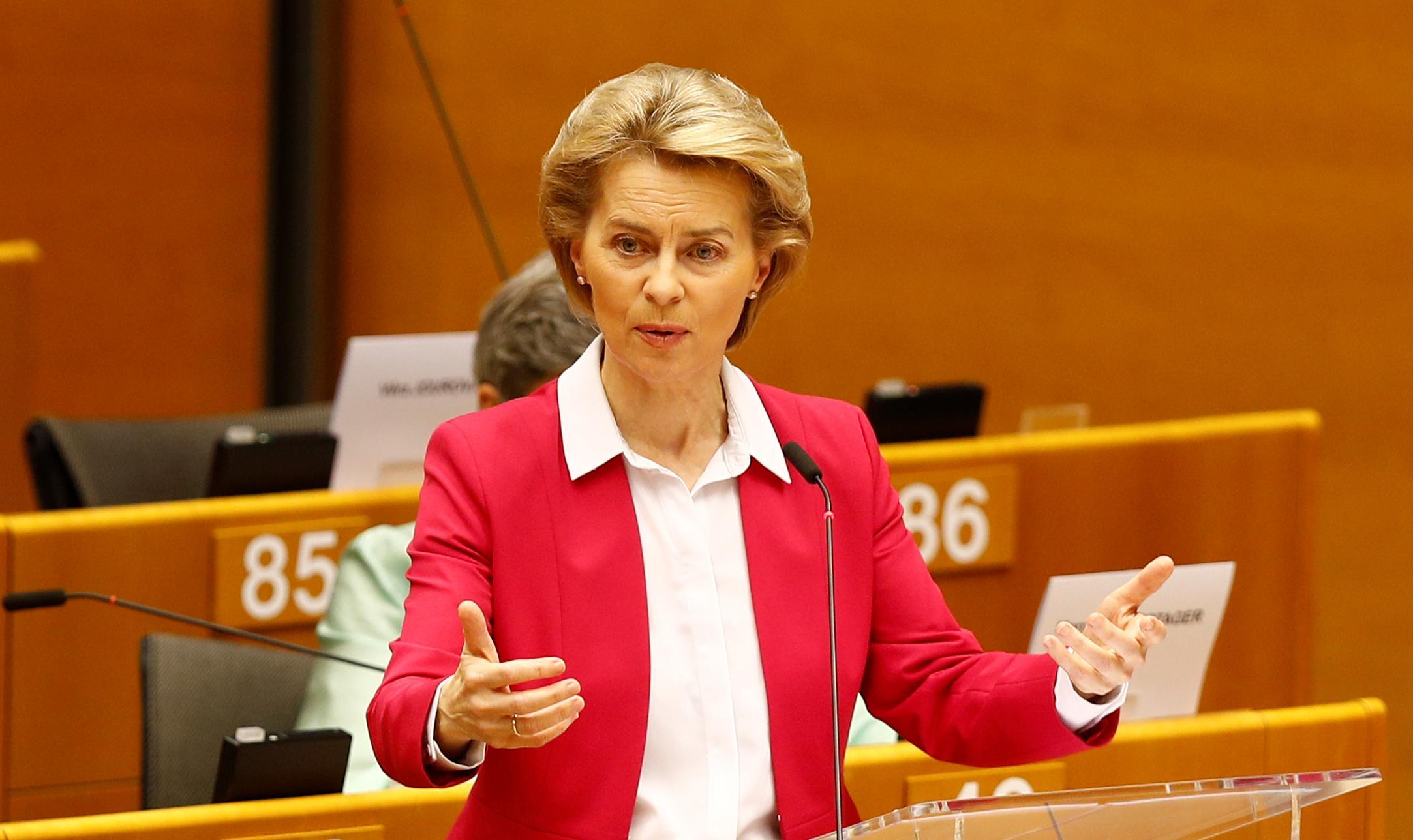 欧州連合(EU)欧州委員会のフォンデアライエン委員長=27日、ブリュッセル(ロイター=共同)