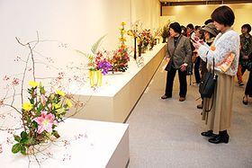 晩秋の風情が感じられる作品が並ぶ会場=新川文化ホール