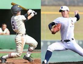 投手陣の新たな柱として期待される佐野日大の松本翔大(右)と高い出塁率で好機を演出する作新の松尾翼