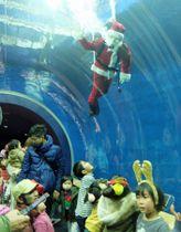 水中から子どもたちに手を振るサンタ姿の飼育員+(草津市下物町・琵琶湖博物館)