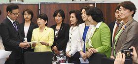 上野賢一郎副大臣(左)に申し入れする国会議員ら=13日、財務省で