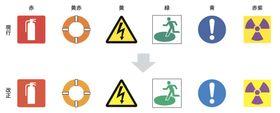 日本工業規格改正前の標識の色(上)と改正後の標識の色