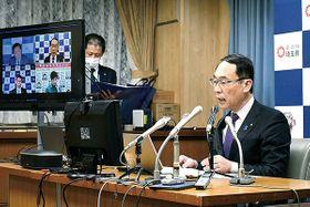 1都3県知事会議で感染防止強化を確認する大野元裕知事=23日午後、県庁