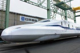 JR東海が披露した、東海道新幹線の新型「N700S」の先頭車両=17日午後、愛知県豊川市