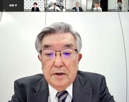 オンラインでの新型コロナウイルス対策連絡会議で発言するプロ野球の斉藤惇コミッショナー=19日