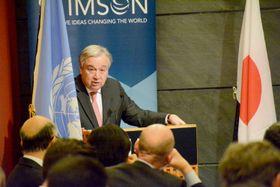 23日、米ニューヨークで演説する国連のグテレス事務総長(共同)