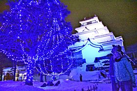 幻想的なイルミネーションに見入る来場者=16日午後7時15分ごろ、会津若松市・鶴ケ城